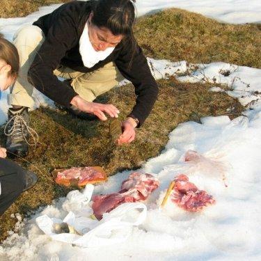 Húspotyolás és -sütés a hóban