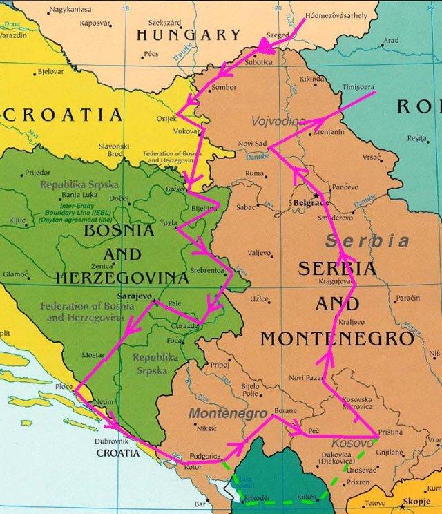 A végleges útvonal. Az Észak-Albánián átvezető szaggatott útvonalon még gondolkozunk... Senki nem ajánlja. Talán még nekünk is extrém lenne. A helyszínen döntünk arról, hogy arra megyünk-e vagy sem.