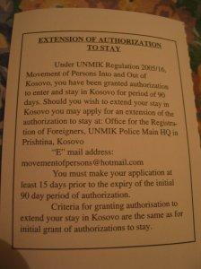 Bevizelős: ha 9o napnál többet akarsz maradni Koszovóba, akkor egy hotmailos címre kell írnod egy kérést...
