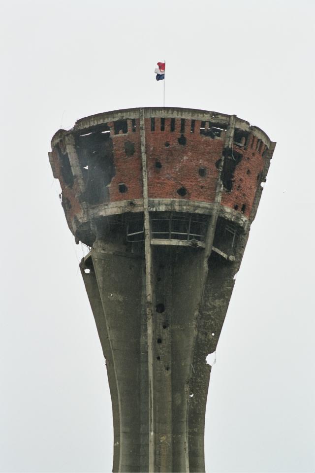 A vukovari víztorony a horvát ellenállás szimbóluma.