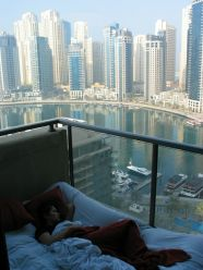 We were more than lucky with our host: Danny lives in one of the most beautiful areas - Dubai Marina. We could easily sleep on the balcony enjoying the view... Only that the mattress deflated till the morning, but who cares about that when you have this magnificent view? Just beyond the skyscrapers - The Beach... :)