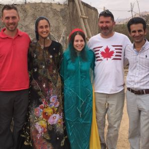 At the Qashqai nomad trip with the girls dressed in traditional cloths. Our host, Soroush is first on the right