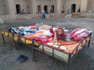 Good morning! Sleeping outside at a caravanserai in the Maranjab Desert