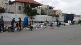 Selling everything and anything near the bus station if Qalqilia