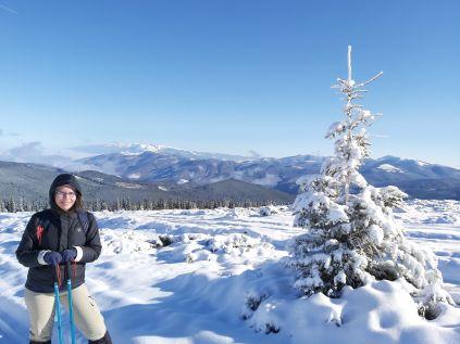 Ketten, azaz Bibi és a fenyőfa, a háttérben pedig a Fogarasi-havasok vonulata